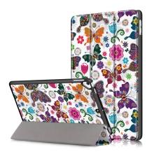 """Pouzdro pro Apple iPad Pro 10,5"""" / Air 10,5"""" (2019) / 10,2"""" (2019) - funkce chytrého uspání + stojánek - plastová záda - motýli a květiny"""