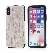 Kryt pro Apple iPhone X - gumový - hnědý / motiv dřeva dub světlý