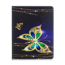Pouzdro pro Apple iPad 2 / 3 / 4 - stojánek + prostor pro platební karty - motýli a šperky