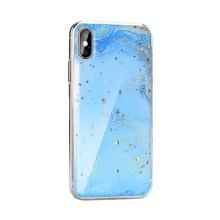 Kryt FORCELL pro Apple iPhone X / Xs - mramorová textura a zlaté úlomky - gumový - modrý