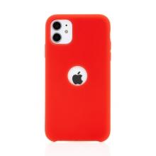 Kryt pro Apple iPhone 11 - gumový - příjemný na dotek - s výřezem pro logo - červený