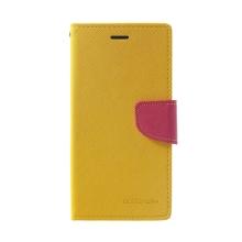Pouzdro Mercury Fancy Diary pro Apple iPhone Xr - stojánek a prostor na doklady - žluté / růžové