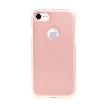 Kryt MERCURY Jelly pro Apple iPhone 7 / 8 - výřez pro logo - gumový - Rose Gold růžový