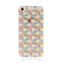 Kryt BABACO - pro Apple iPhone 5 / 5S / SE - gumový - průhledný - broskvičky