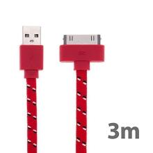 Synchronizační a nabíjecí kabel s 30pin konektorem pro Apple iPhone / iPad / iPod - tkanička - plochý červený - 3m