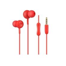 Sluchátka HOCO pro Apple zařízení - špunty - mikrofon + tlačítko přijetí hovoru - červená