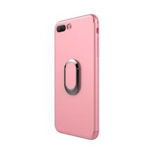 Kryt pro Apple iPhone 7 Plus / 8 Plus - stojánek + kovová ploška - gumový - růžový