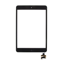 Dotykové sklo (touch screen) s IC konektorem a flex s Home Buttonem pro Apple iPad mini / mini 2 (Retina) - černé - kvalita A+