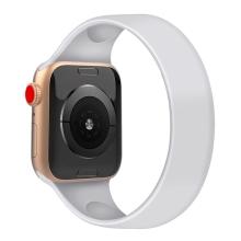 Řemínek pro Apple Watch 44mm Series 4 / 5 / 6 / SE / 42mm 1 / 2 / 3 - bez spony - silikonový - velikost M - bílý