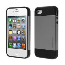 Kryt SLIM ARMOR pro Apple iPhone 4 / 4S - plast / guma - černý / šedý