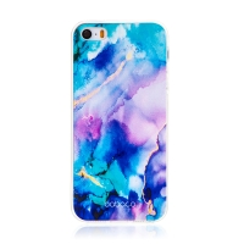 Kryt BABACO pro Apple iPhone 5 / 5S / SE - gumový - mlhovina - růžový / modrý