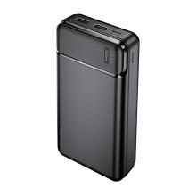 Externí baterie / power bank MAXLIFE - 2x USB + USB-C - 20000 mAh - černá