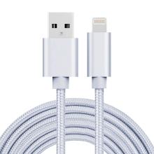 Synchronizační a nabíjecí kabel - Lightning pro Apple zařízení - tkanička - kovové koncovky - stříbrný - 3m