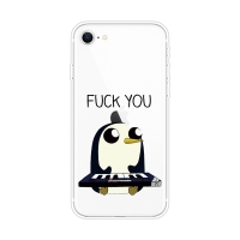 "Kryt pro Apple iPhone 7 / 8 / SE (2020) - gumový - tučňák ""Fuck You"""