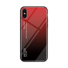 Kryt pro Apple iPhone X / Xs - sklo / guma - červený