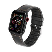 Řemínek pro Apple Watch 44mm Series 4 / 5 / 42mm 1 2 3 - silikonový / kožený - černý