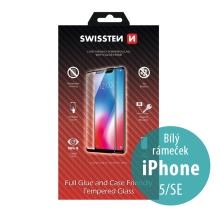 Tvrzené sklo (Tempered Glass) SWISSTEN Case Friendly pro Apple iPhone 5 / 5S / SE - 2,5D - bílý rámeček - 0,3mm