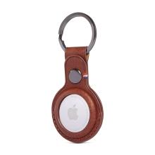 Kryt / obal DECODED pro Apple AirTag - kovový kroužek - kožený - hnědý