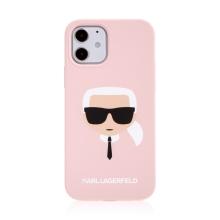 Kryt KARL LAGERFELD Head pro Apple iPhone 12 / 12 Pro - hlava Karla - silikonový - růžový