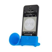 Přenosný stojánek s reproduktorem pro Apple iPhone 5 / 5S / SE - modrý