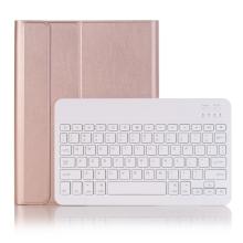 """Klávesnice Bluetooth odnímatelná + kryt / pouzdro pro Apple iPad 10,2"""" - Rose Gold růžová"""