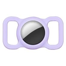Kryt pro Apple AirTag - spona na batoh / psí obojek - silikonový - fialový