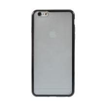 Kryt pro Apple iPhone 6 Plus / 6S Plus plasto-gumový - matný průhledný s černým rámečkem