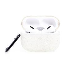 Pouzdro / obal pro Apple AirPods Pro - gumové - třpytky + kamínky - bílé