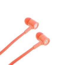 Sluchátka SWISSTEN pro Apple zařízení - špunty - ovládání + mikrofon - plast - oranžová