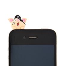 Antiprachová záslepka na jack konektor pro Apple iPhone a další zařízení - pirate pig - růžová