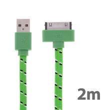 Synchronizační a nabíjecí kabel s 30pin konektorem pro Apple iPhone / iPad / iPod - tkanička - plochý zelený - 2m