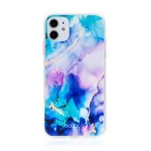 Kryt BABACO pro Apple iPhone 11 - gumový - mlhovina - růžový / modrý