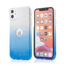 Kryt FORCELL Shining pro Apple iPhone 11 - výřez pro logo - plastový / gumový - stříbrný / modrý