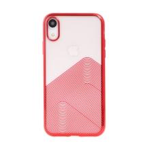 Kryt SULADA pro Apple iPhone Xr - lesklé vlnky - gumový - průhledný / červený