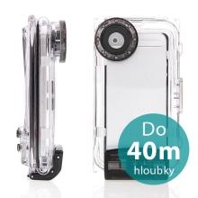 Vodotěsné pouzdro s odolností do 40m hloubky (IPX8) pro Apple iPhone 5 / 5C / 5S / SE - černo-průhledné