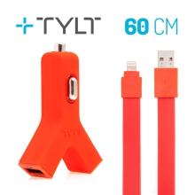2v1 nabíjecí sada TYLT pro Apple zařízení - autonabíječka 2x USB (2.1A) + MFi certifikovaný kabel Lightning - červená