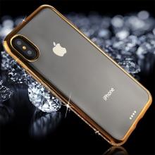 Kryt pro Apple iPhone X - s kamínky po obvodu - gumový - průhledný / zlatý