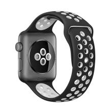 Řemínek pro Apple Watch 44mm Series 4 / 5 / 42mm 1 2 3 - silikonový - černý / bílý - (M/L)
