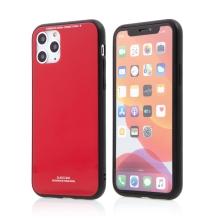 Kryt FORCELL Glass pro Apple iPhone 11 Pro Max - gumový / skleněný - červený