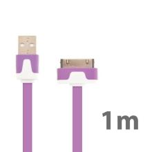Synchronizační a nabíjecí plochý USB kabel pro Apple iPhone / iPad / iPod - fialový
