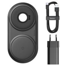 2v1 bezdrátová nabíječka / podložka Qi BASEUS pro Watch / iPhone + 24W EU nabíjecí adaptér - černá