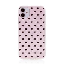 Kryt BABACO pro Apple iPhone 11 - gumový - srdíčka - růžový
