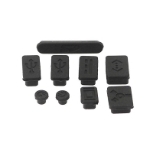 Antiprachové silikonové záslepky (sada 9ks) pro Apple MacBook, MacBook Pro a MacBook Air - černé