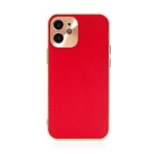 Kryt pro Apple iPhone 12 mini - kožený + pokovený povrch - červený / měděný