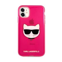 Kryt KARL LAGERFELD Choupette pro Apple iPhone 11 - gumový - růžový - třpytky