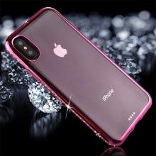 Kryt pro Apple iPhone X - s kamínky po obvodu - gumový - průhledný / fialový