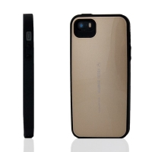 Plasto-gumový kryt Mercury Focus Bumper pro Apple iPhone 5 / 5S / SE - zlatý (champagne)