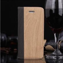 Pouzdro pro Apple iPhone 5 / 5S / SE - stojánek a prostor pro platební karty - vzor dřeva