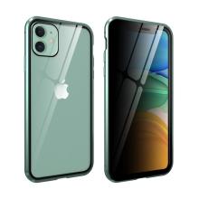 Kryt pro Apple iPhone 11 - 360° ochrana - magnetické uchycení - skleněný / kovový - zelený