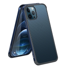 Kryt SULADA pro Apple iPhone 12 / 12 Pro - gumový / kovový - karbonová textura - průhledný - mořsky modrý